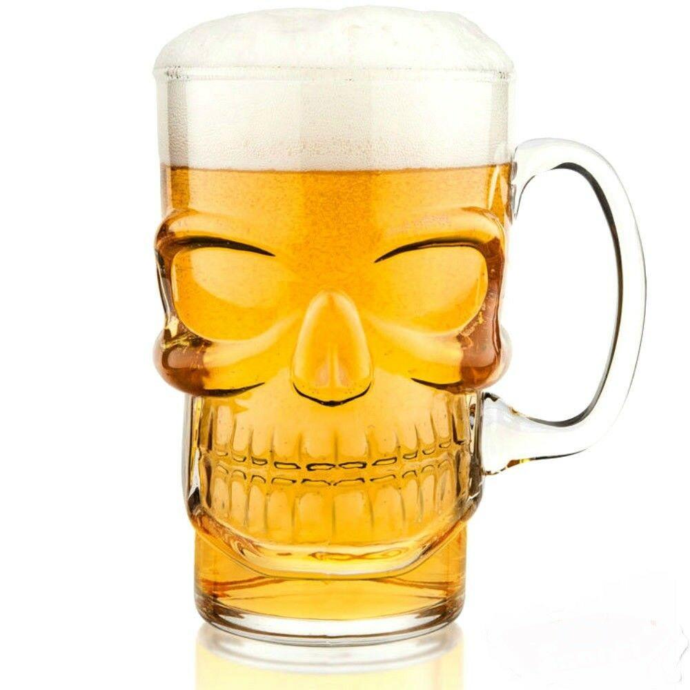 Boccale di birra in vetro teschio festa party bicchiere forma teschio