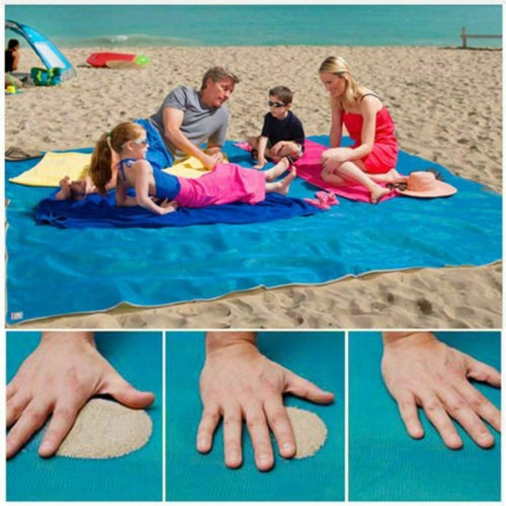 Telo antisabbia mare elimina sabbia asciugamano spiaggia estate 200 x 150 cm